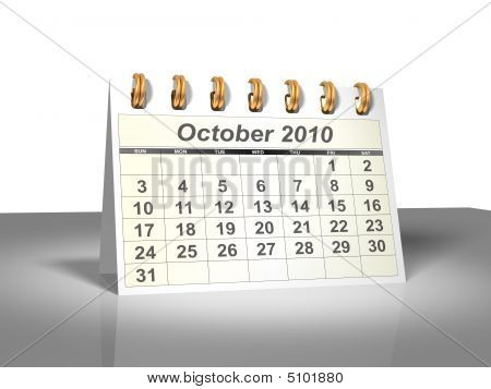 Desktop Calendar (3D). October, 2010.