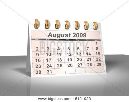 Desktop Calendar (3D). August, 2009.