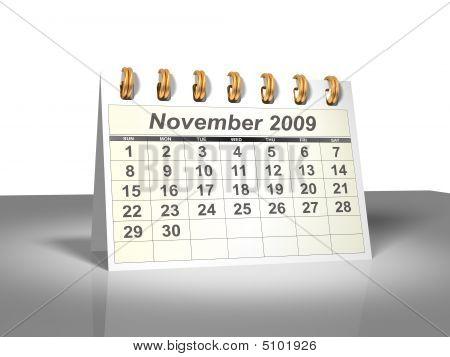 Desktop Calendar (3D). November, 2009.