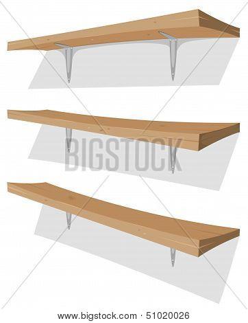 Wood Shelf On The Wall