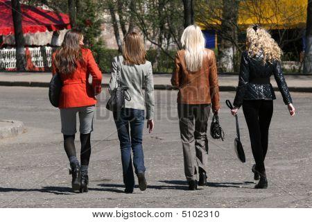 Shopping Women Walking On The Street