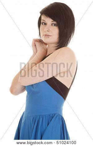 Blue Dress Face Piercings Side Look