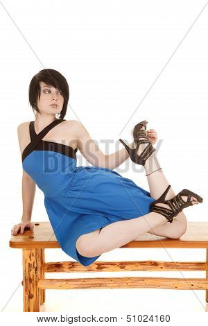 Blue Dress Face Piercing Sit Stretch