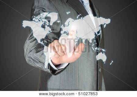 Businessman uses virtual map