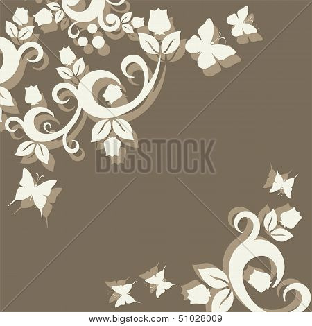 Vintage Ornament With Floral Elements For Invitation Or Greeting Card