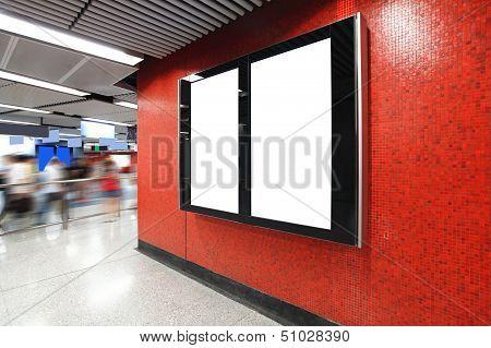Blank Billboard In Metro Subway Station
