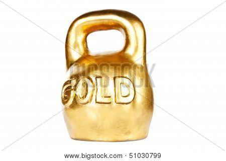 Golden Kettebell Isolated On White