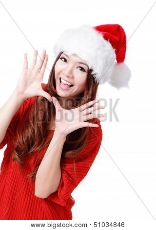 Happy Christmas Woman Excited Say Hello