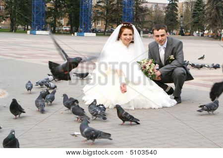 Bride, Groom And Doves