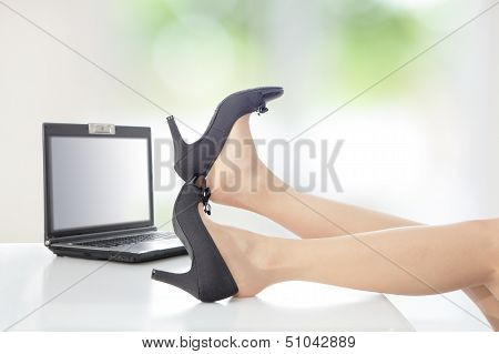 Business Woman Take Off Her High Heels Shoes