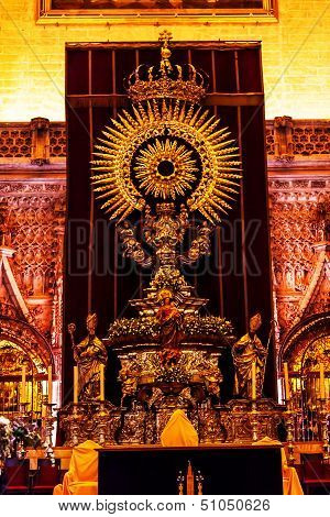 Golden Paseo Madonna Statue Seville Cathedral Spain