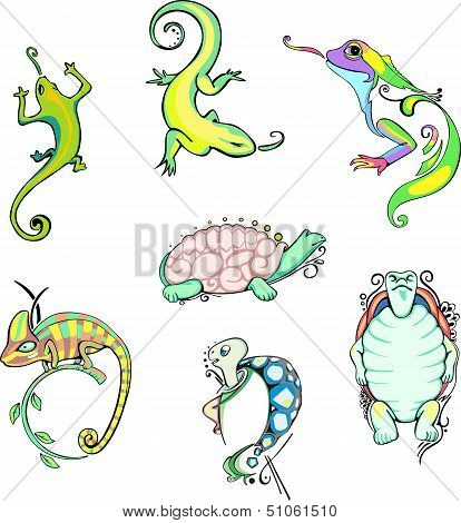 Stylized Lizards And Turtles