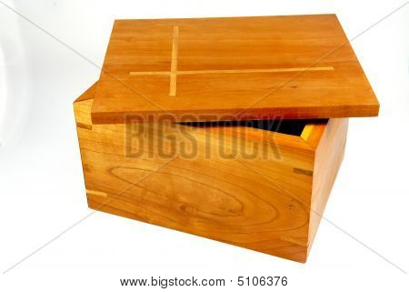 Cherry Wood Box With Inlaid Lid (ajar)
