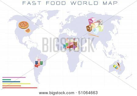 World Map With Fast Food And Take Away Food