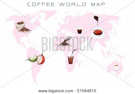 World Map With Coffee Production And Consumption
