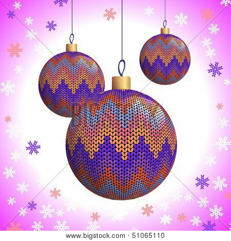 Three Knitted Christmas Balls