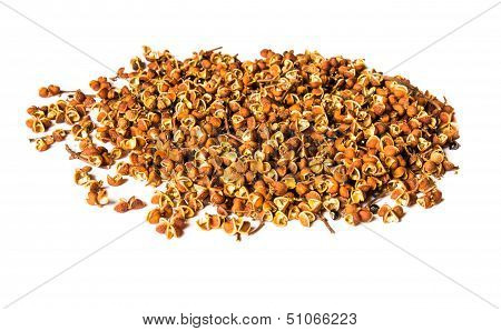 Sichuan Pepper, Szechwan Pepper Or Szechuan Pepper, A Common Spice Used In Asian Cuisine,on A White