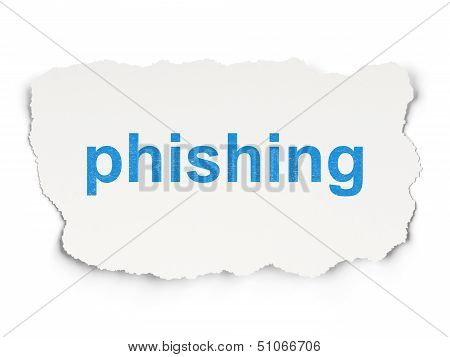 Protection concept: Phishing on Paper background
