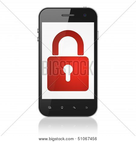 Privacy concept: Closed Padlock on smartphone