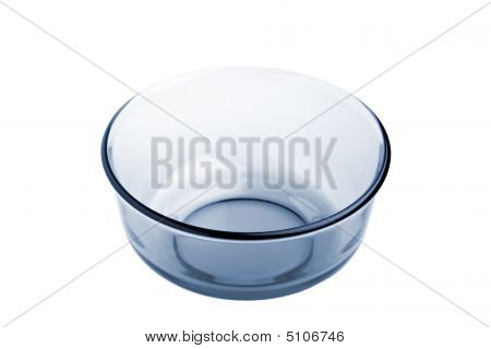 Blue Glass Bowl Isolated On White
