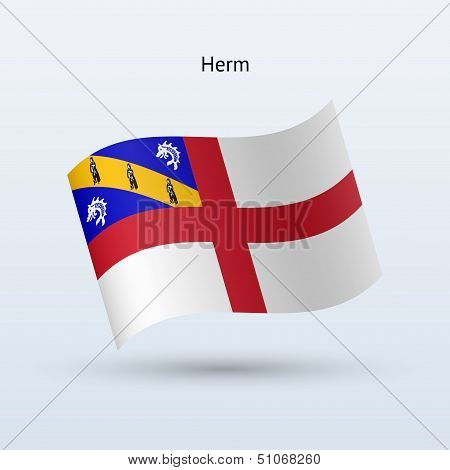 Herm flag waving form. Vector illustration.