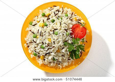 Looking down at a plate of black & white rice dish