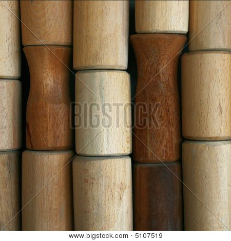 Wooden Samples Of The Cylindrical Forms