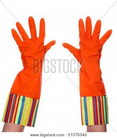 Rubber dishwashing gloves