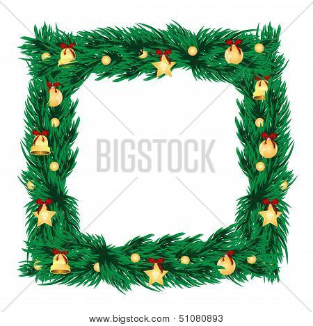 Frame Of Branches Of Christmas Tree Decorated With Gold Christmas Toys.new Year Decoration.vector