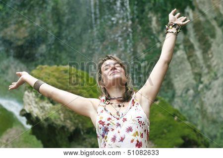 Smiley happy woman enjoying