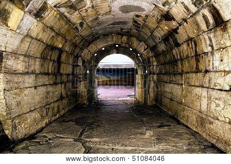 Old Roman tunnel to gladiator area in stadium