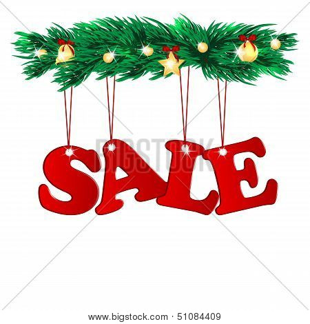 Word Sale  Decorated With Christmas Tree Branches.seasonal Christmas Sale.branches Of A Christmas Tr