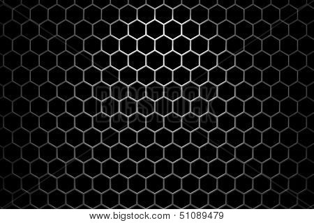 Steel Grid With Hexagonal Holes Under Spot Light