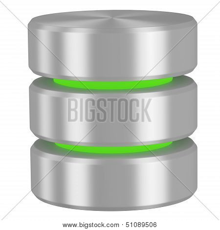 Database Icon With Green Elements