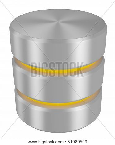 Database Icon With Yellow Elements Perspective View
