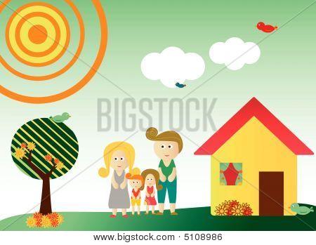 Retro Style Family In Landscape