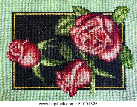 Gobelin Of Red Roses With Green Leaves On Dark-blue Background