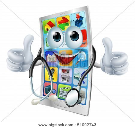 Cartoon Phone Doctor Man