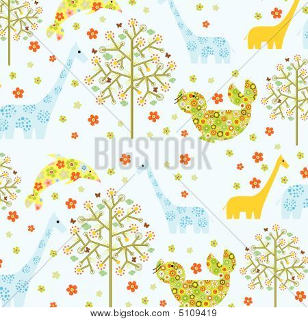 Floral Abstract Pattern With Animals