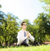 picture of stressless  - Young businessman doing yoga exercise seated on a green grass in a park - JPG