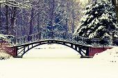 stock photo of bridge  - Winter scene  - JPG