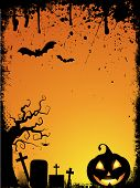 pic of emo  - Grunge style Halloween background with spooky pumpkin and drips - JPG