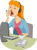foto of sleepy  - Illustration of a Sleepy Girl Trying to Cover Her Mouth While Yawning - JPG