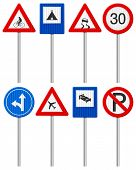 image of traffic rules  - Traffic road signs set on a white background - JPG