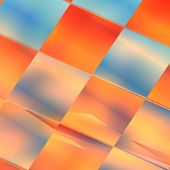 Blue and orange squire abstract futuristic background. For creative layout design, scientific illust