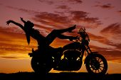 Silhouette Woman Motorcycle Heels Up Hands Back