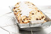 Traditional Christmas Stollen Cake On A Metal Tray