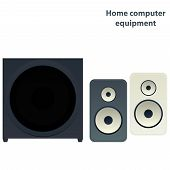 stock photo of subwoofer  - Vector media speakers with subwoofer two colours - JPG
