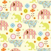 Abstract Floral And Animal Pattern
