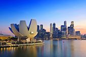 image of singapore night  - Singapore Skyline and view of Marina Bay - JPG